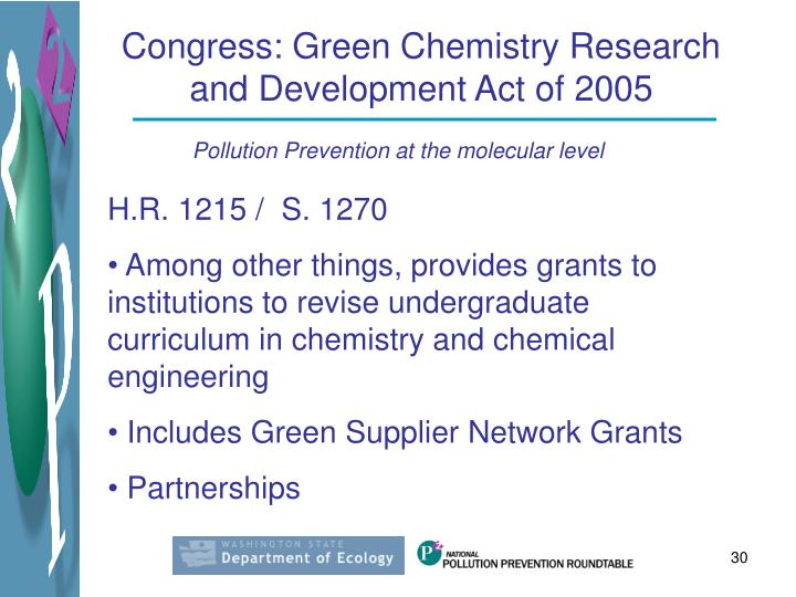 Congress: Green Chemistry Research and Development Act of 2005