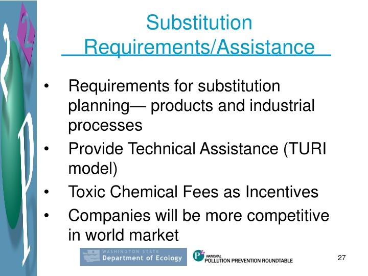 Substitution Requirements/Assistance