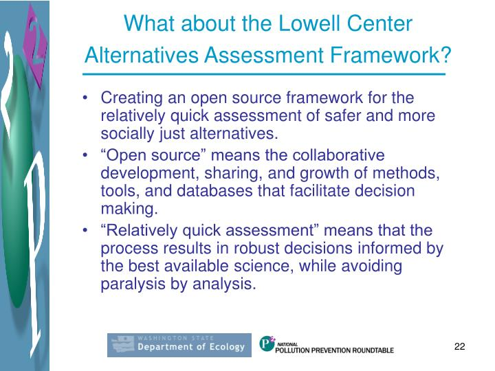 What about the Lowell Center Alternatives Assessment Framework?