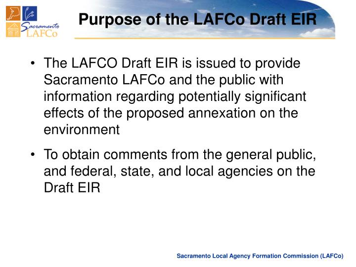 Purpose of the LAFCo Draft EIR