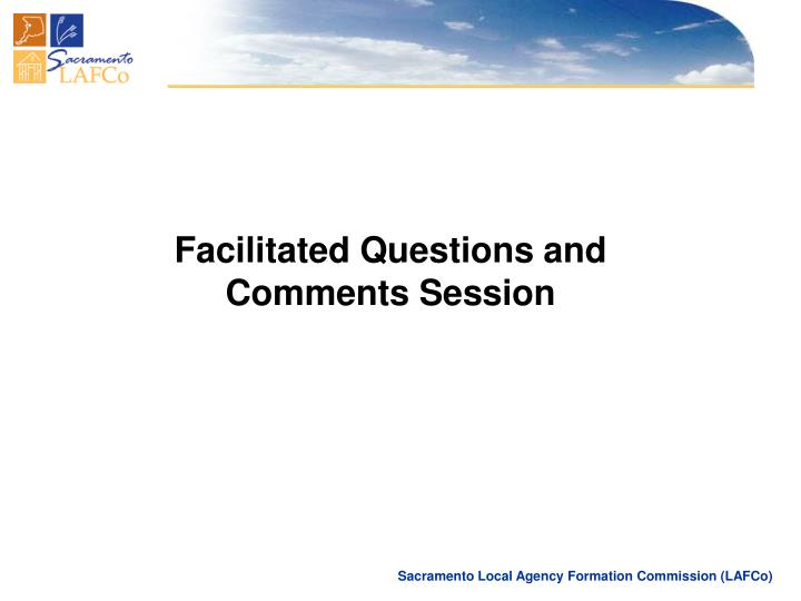 Facilitated Questions and Comments Session