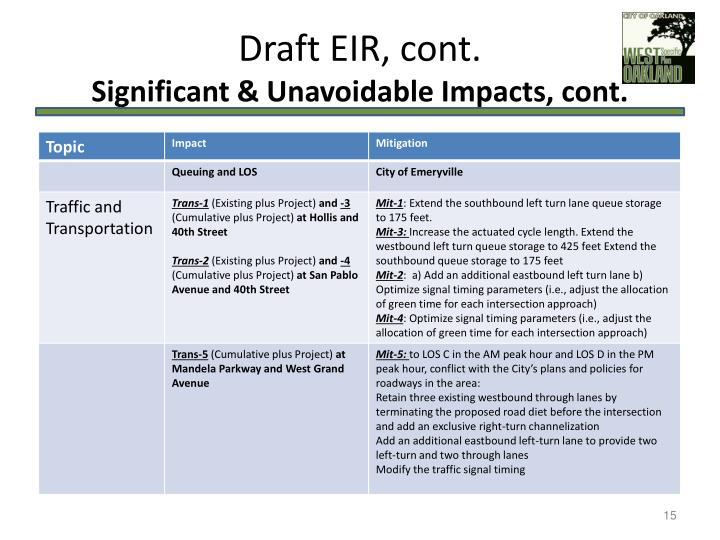 Draft EIR, cont.