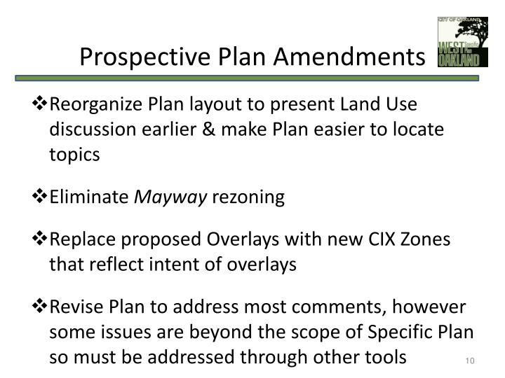 Prospective Plan Amendments