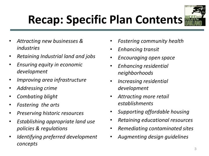 Recap specific plan contents