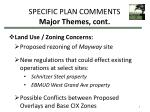 specific plan comments major themes cont