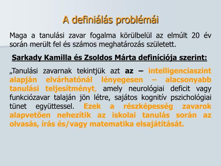 A definiálás problémái