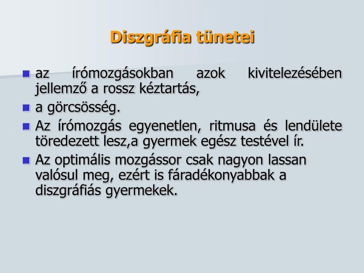 Diszgráfia tünetei