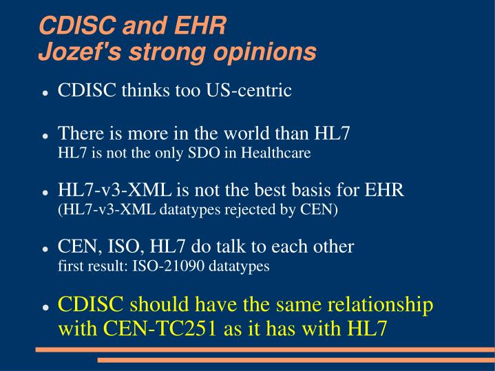 CDISC and EHR