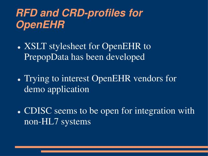RFD and CRD-profiles for OpenEHR