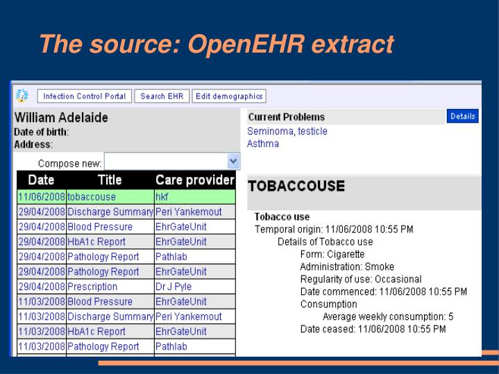 The source: OpenEHR extract