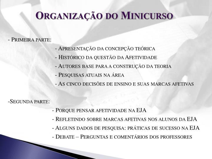 Organização do Minicurso