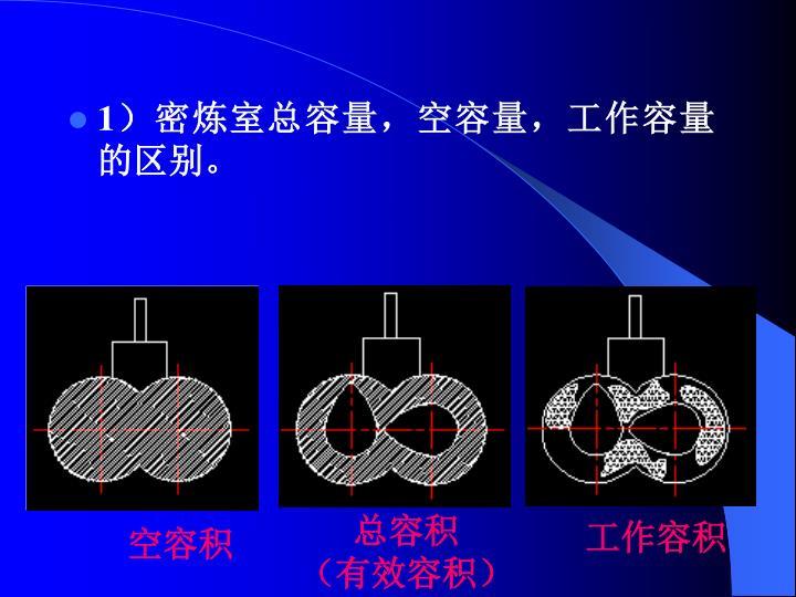 1)密炼室总容量,空容量,工作容量的区别。