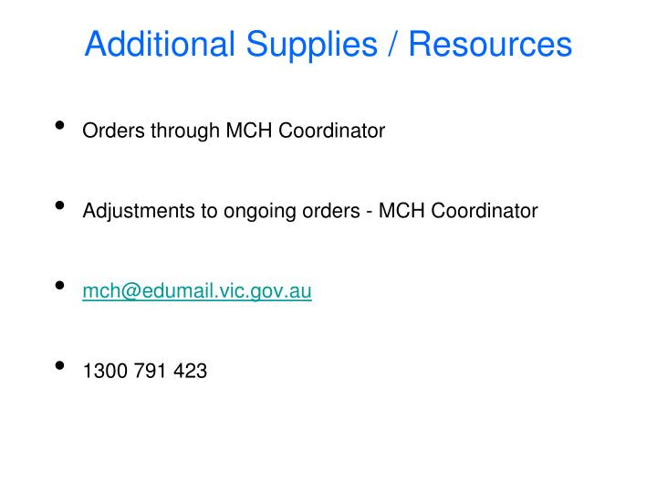 Orders through MCH Coordinator