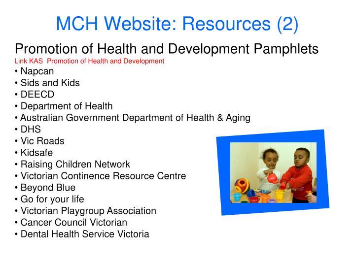MCH Website: Resources (2)