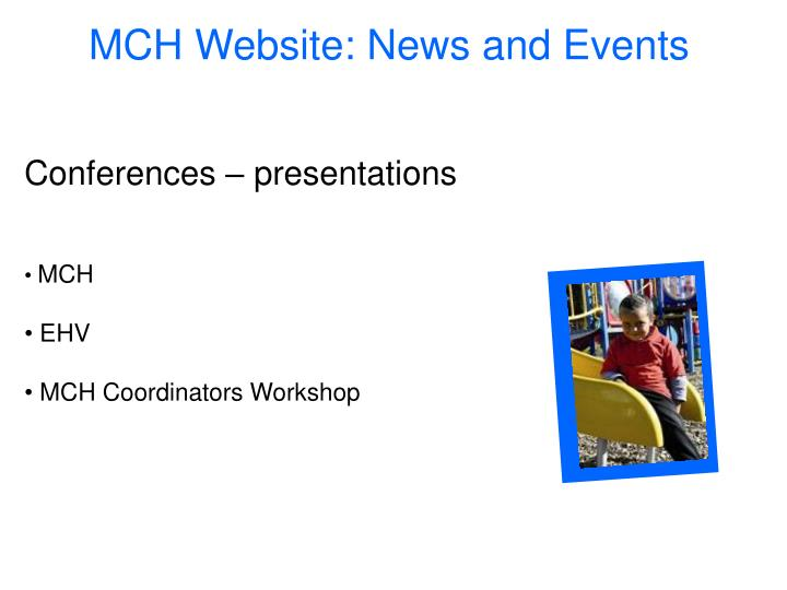 MCH Website: News and Events