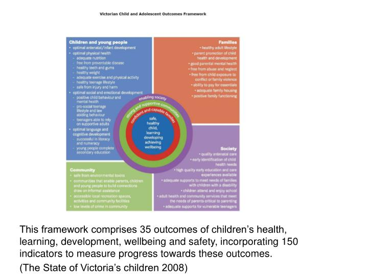 This framework comprises 35 outcomes of children's health, learning, development, wellbeing and sa...