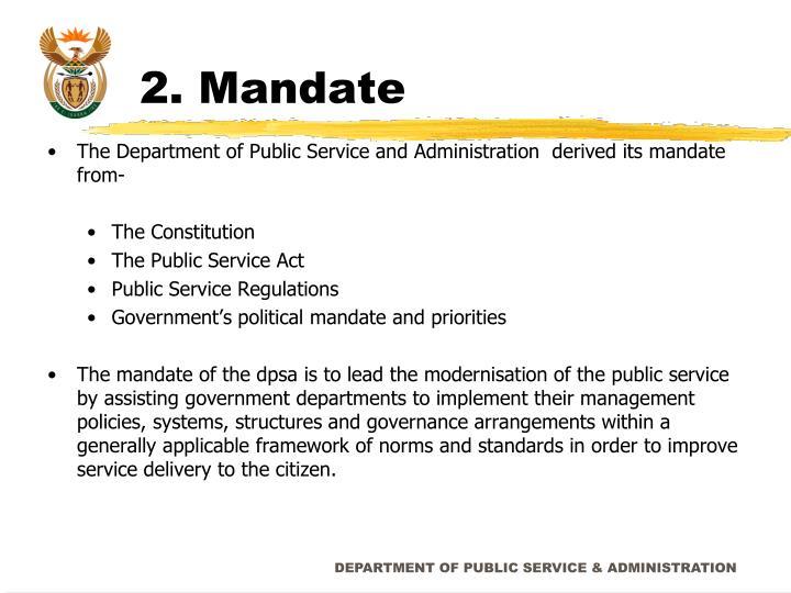 2. Mandate