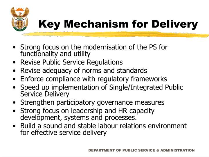 Key Mechanism for Delivery
