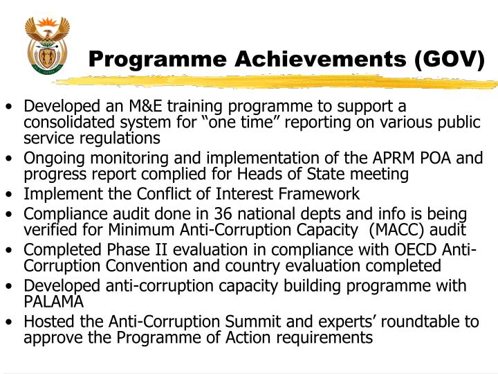 Programme Achievements (GOV)