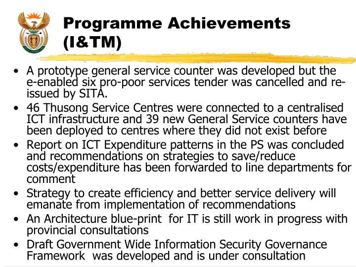 Programme Achievements (I&TM)