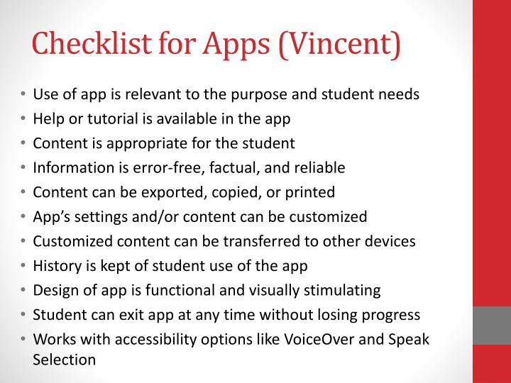 Checklist for Apps (Vincent)