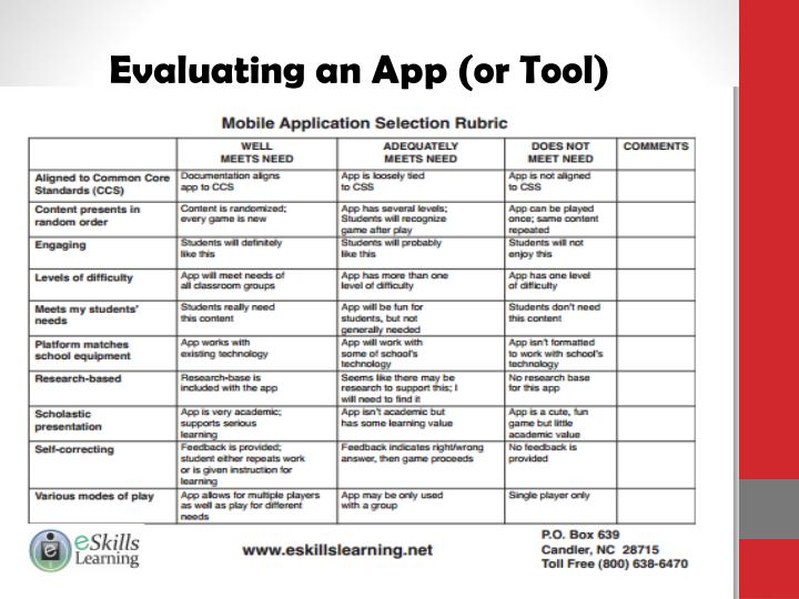 Evaluating an App (or Tool)