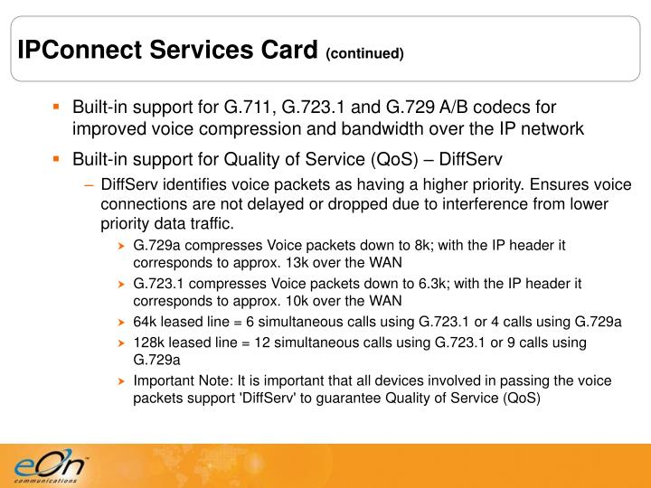 IPConnect Services Card