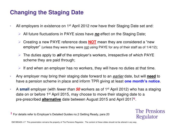 Changing the Staging Date