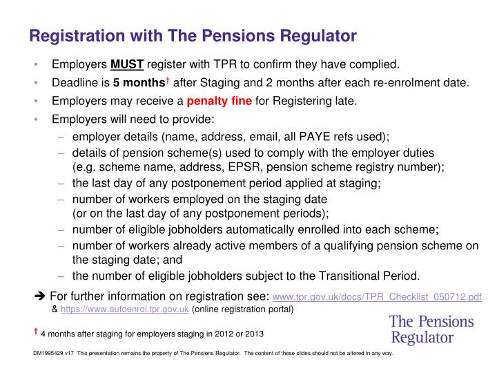 Registration with The Pensions Regulator