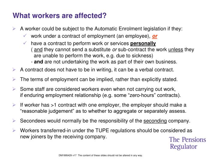 What workers are affected?