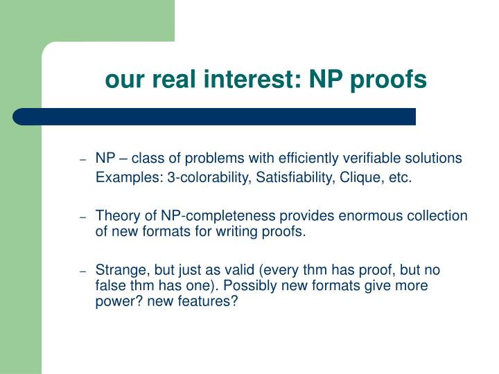 Our real interest np proofs