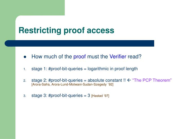 Restricting proof access