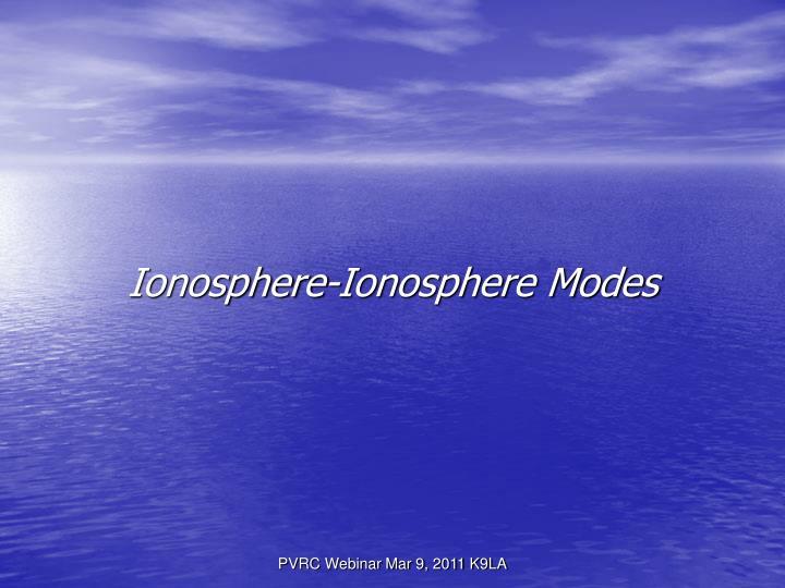 Ionosphere-Ionosphere Modes