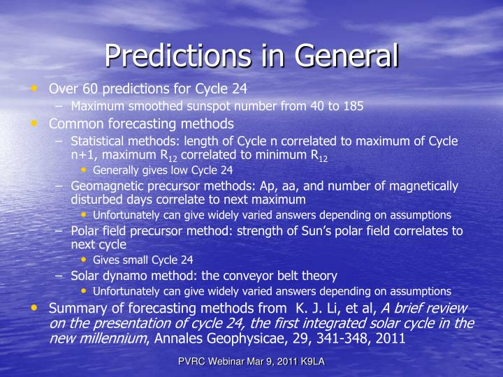 Predictions in General