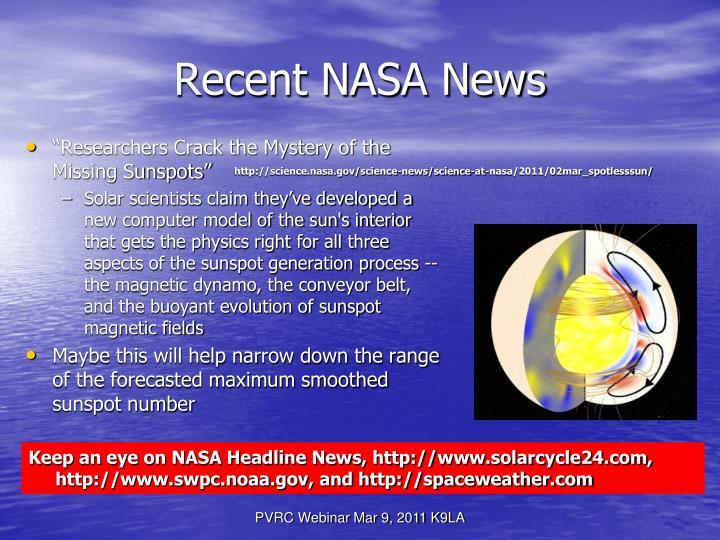 Recent NASA News