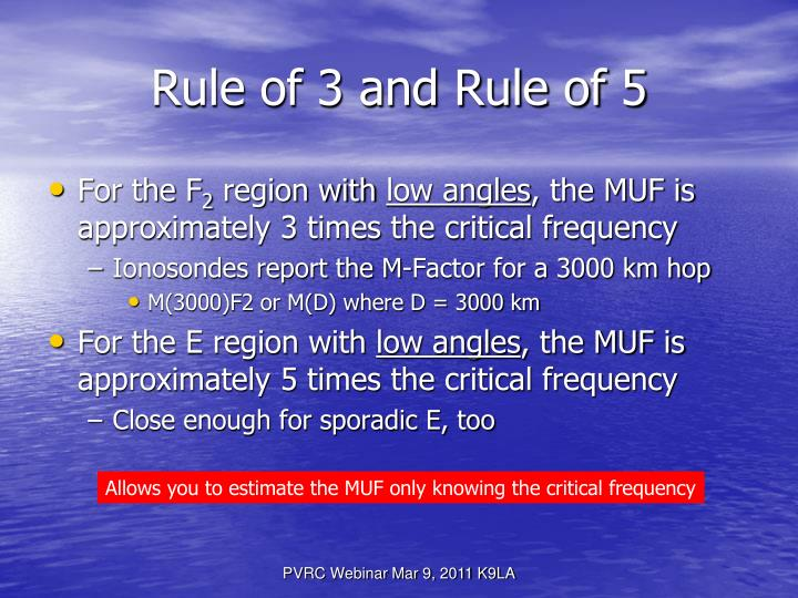 Rule of 3 and Rule of 5