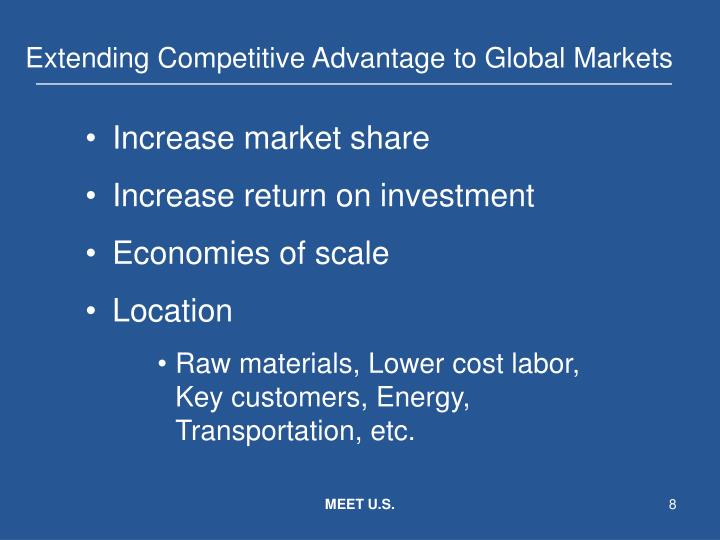 Extending Competitive Advantage to Global Markets