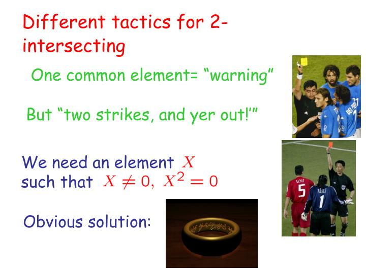 Different tactics for 2-intersecting