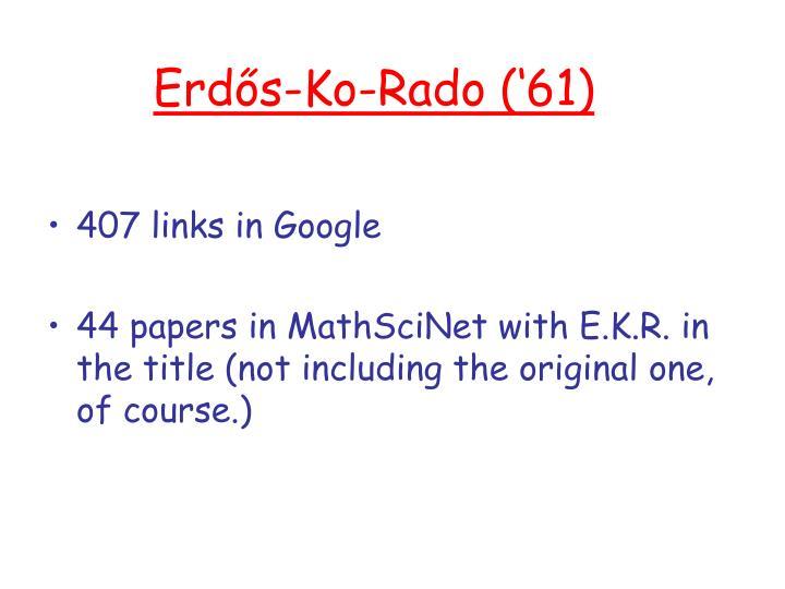 Erdős-Ko-Rado ('61)