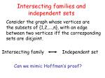 intersecting families and independent sets