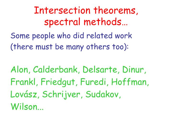 Intersection theorems,