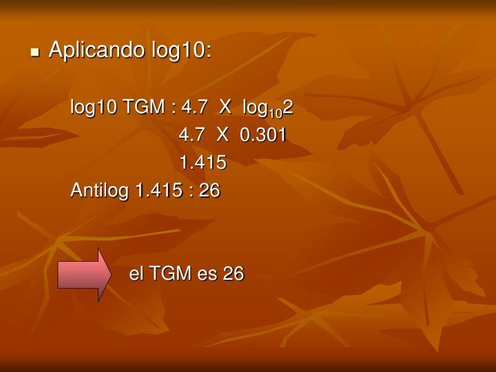 Aplicando log10: