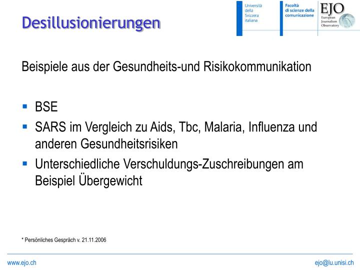 Beispiele aus der Gesundheits-und Risikokommunikation