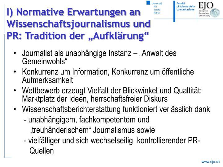 """Journalist als unabhängige Instanz – """"Anwalt des Gemeinwohls"""""""