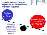 prinzipal agenten theorie angewandt auf das verh ltnis journalist publikum
