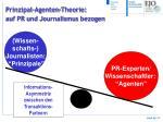 prinzipal agenten theorie auf pr und journalismus bezogen