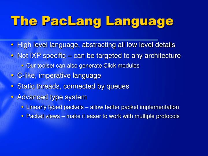 The PacLang Language