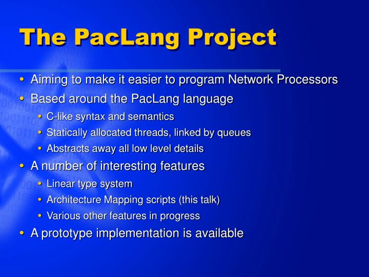 The PacLang Project