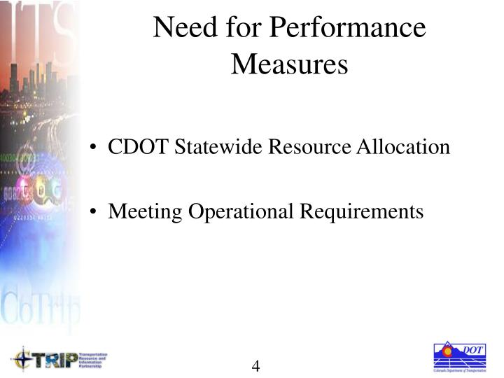 Need for Performance Measures