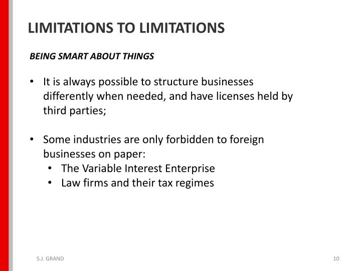 LIMITATIONS TO LIMITATIONS